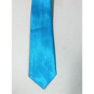 CRAVATE - NŒUD PAPILLON Cravate Homme Femme bleu Unie Satin 135cm Tenue Fê