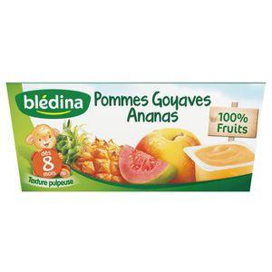 DESSERT FRUITS BÉBÉ BLEDINA Purée de fruits Pomme goyave ananas - 4x10