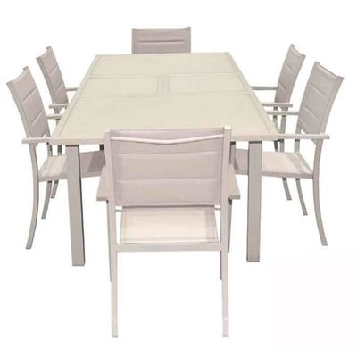 Ensemble table extensible + 6 fauteuils en aluminium-verre mistral ...