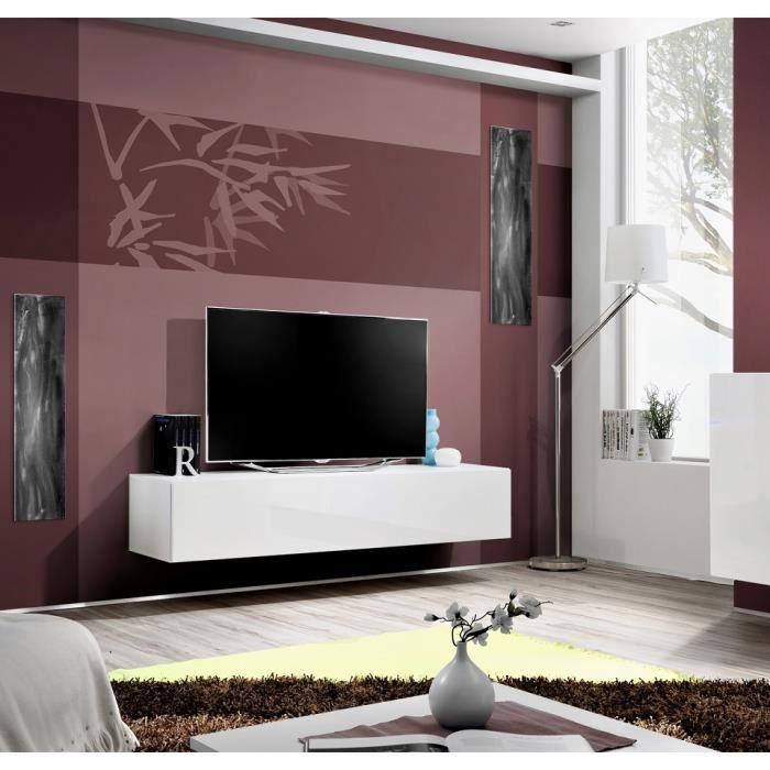 Grand Meuble Tv Fly à Suspendre 160x30x40cm Blanc De Haute