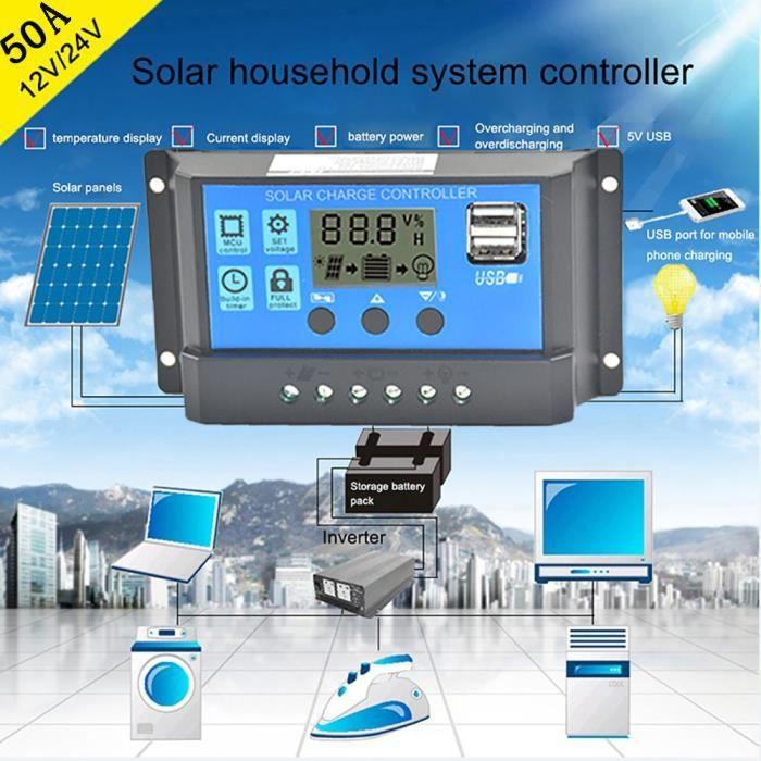 Régulateur contrôleur de charge panneau solaire USB 50A 12V-24V ... c88f3b1d5b80