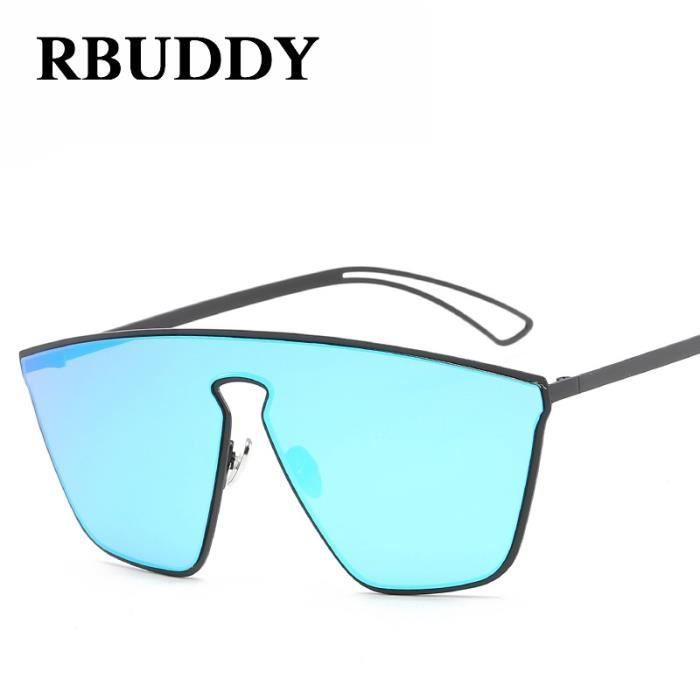RBUDDY Flat Top Lunettes de soleil femmes Miroir Des lunettes de soleil oversize Goggle carrés 2017 nouveaux hommes cool lunettes
