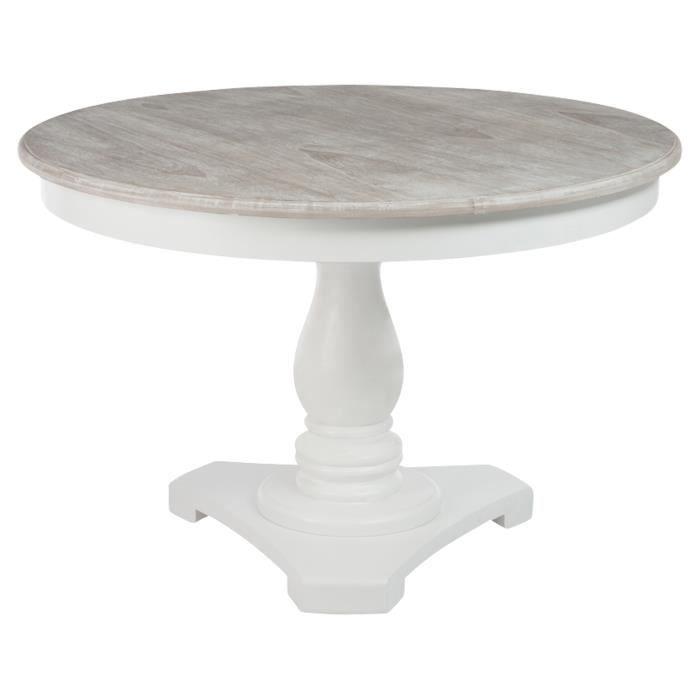 Table ronde en bois coloris blanc diam tre 120cm achat Table en bois blanc avec rallonge