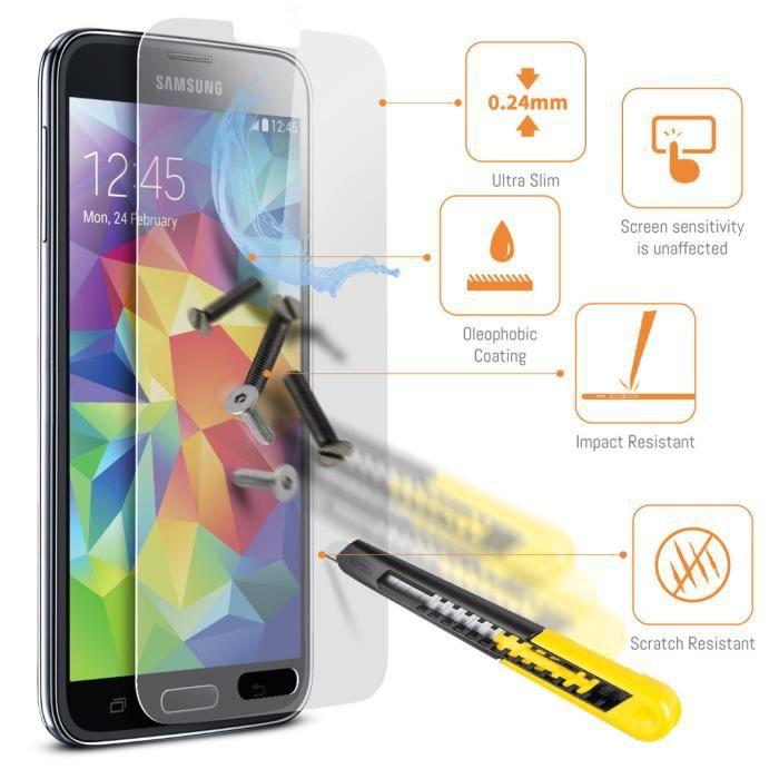 Protections d'écran ACENIX® Samsung Galaxy S5 en verre trempé Crystal Clear  LCD Packs Avec Chiffon, Garantie à vie