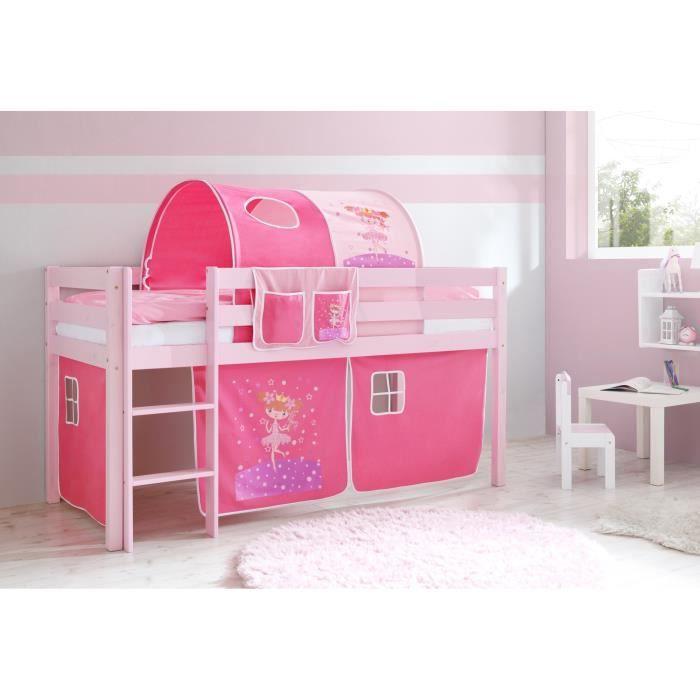 Merveilleux Lit Mezzanine Enfant MALTE Pin T. Rose + Sommier