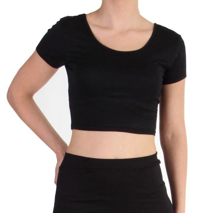 Top T-Shirt court simple FEMME Noir - Achat   Vente t-shirt - Soldes ... 132f89a8b2a5