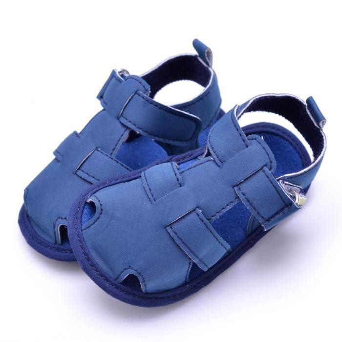 Tout-petits été Casual filles garçons Soft Bébé toe cap couvrant sandales plage chaussures Bleu eWy32VUA