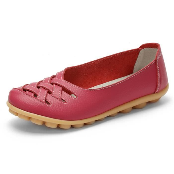Mocassin Femmes ete Loafer Ultra Leger Respirant Chaussures GD-XZ053Rouge35