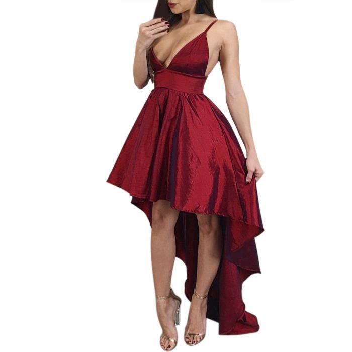 exquisgift®Sexy sans manches Slim plage irrégulière soirée camisole robe ROUGE~ZSS71127426A