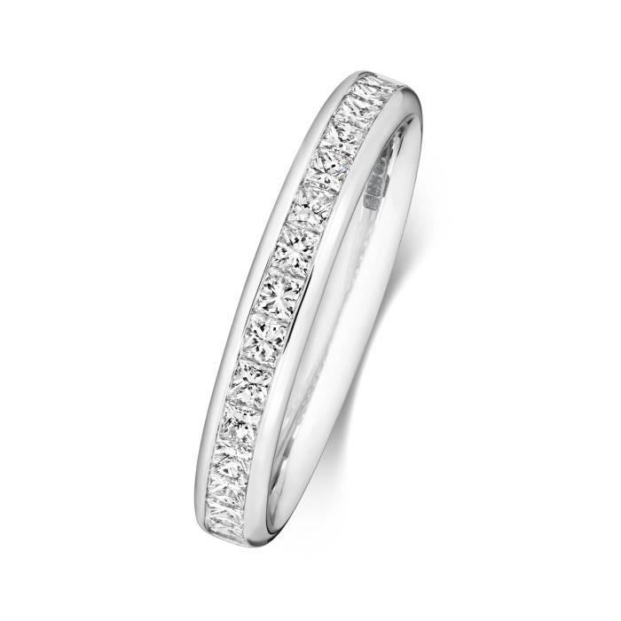 Bague de Mariage-Alliance Femme Semi Pavée 3,2mm Platine 950 et Diamant Coupe Princesse 0.74 Carat G - VS 31152