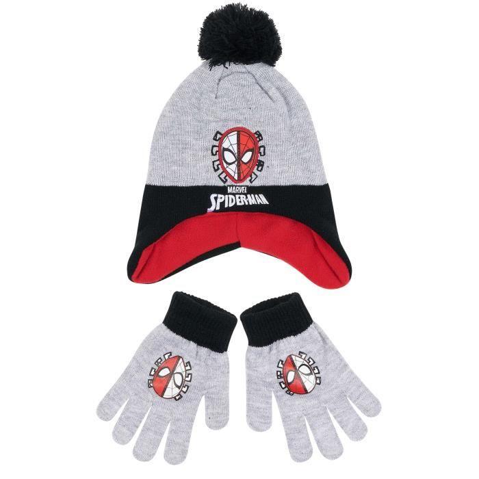 Spider-Man Garçon Ensemble 2 pièces   bonnet et gants Gris Gris ... a654493a2fb