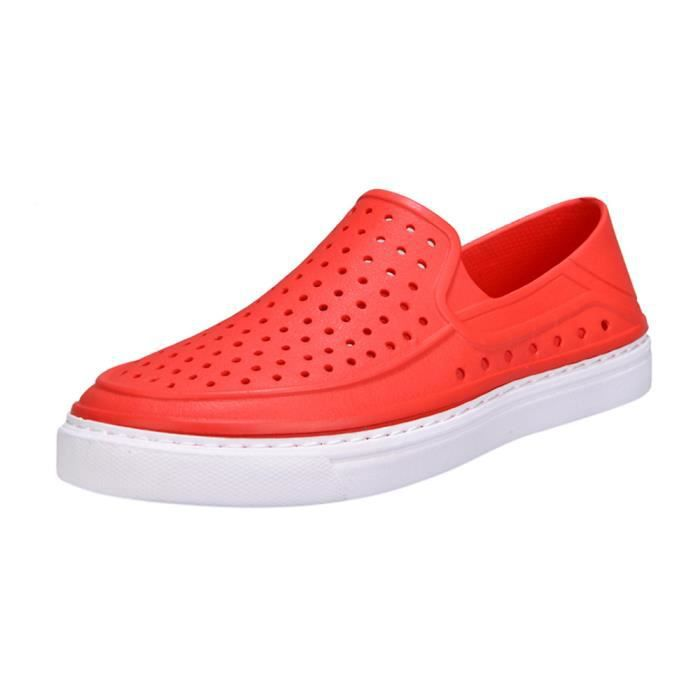 Unisexe Couple Rouge Casual Tongs Sandale Lmh80305554rd Banconre®hommes Évider Chaussures Plage 1wIWqC5