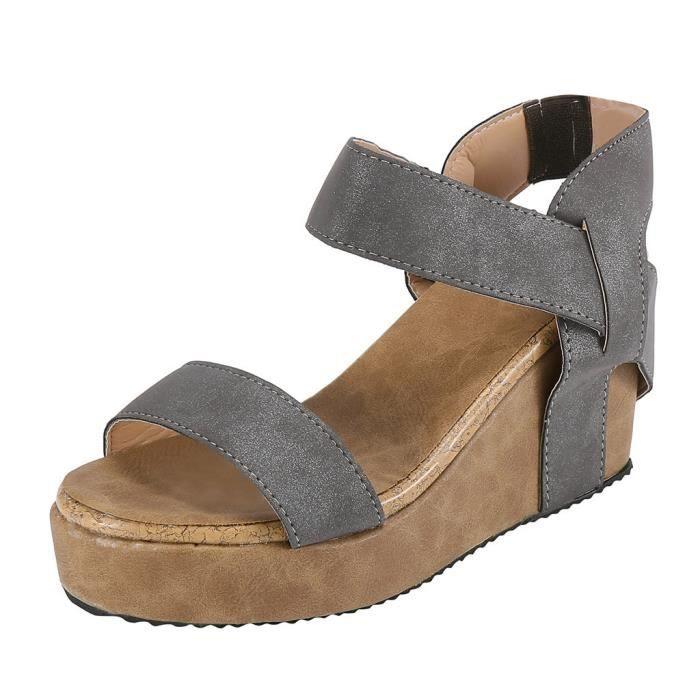 Plage Ouvertes Casual Élastique Devant Rome De Sandales Chaussures Bande Compensées Respirant Femmes Gris RqC5Ywx