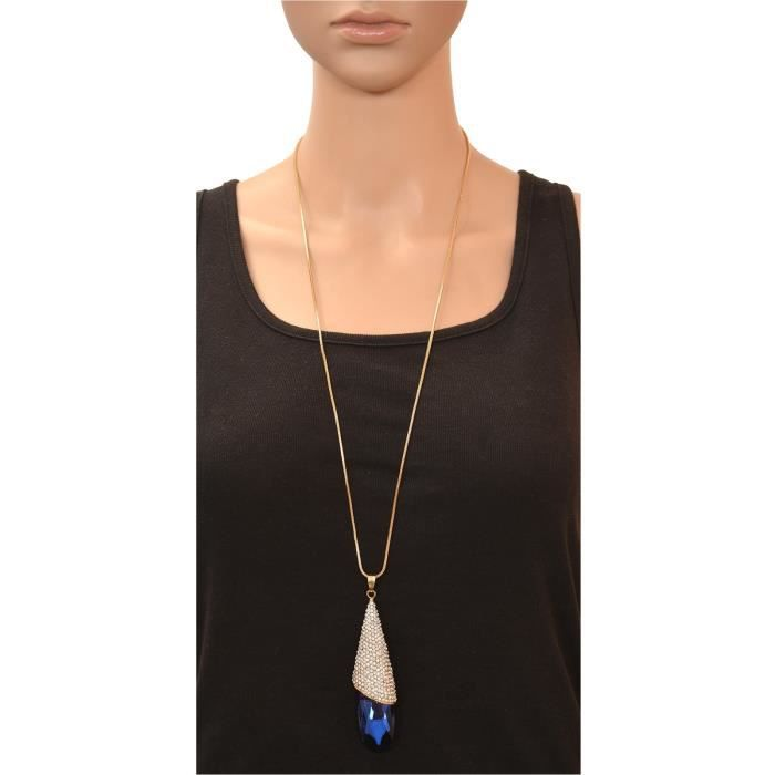 Womens Fashion Long Pendant Necklace With American Diamonds ForN78C1