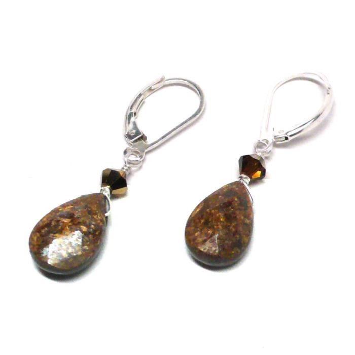 Femmes Bronzite Briolette en argent sterling Levier Retour Boucles doreilles en cristal Swarovski G4NVT