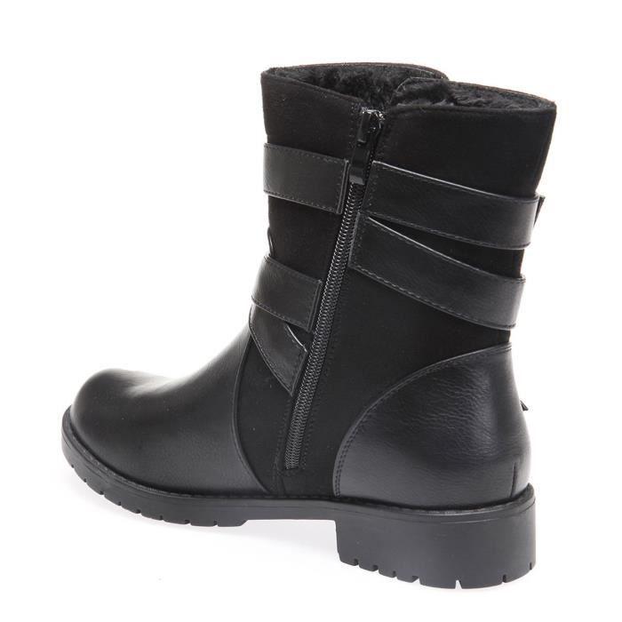 La Modeuse - Bottines femme bi matière (simili cuir et suédine) 37 Noir
