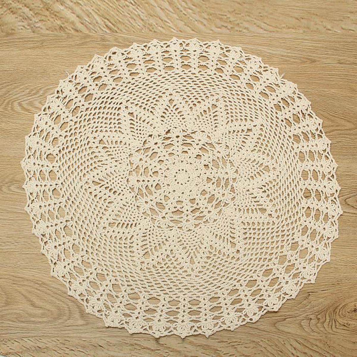 Grand Napperon Au Crochet dedans tempsa 55cm napperon dentelle crochet fait main rond mariage maison
