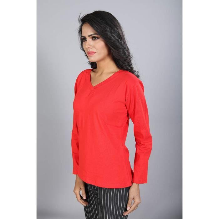 shirt En T Pour Coton T Femmes Uni Des m Fr8x0 Taille Col V shirts IwSBq5Yq