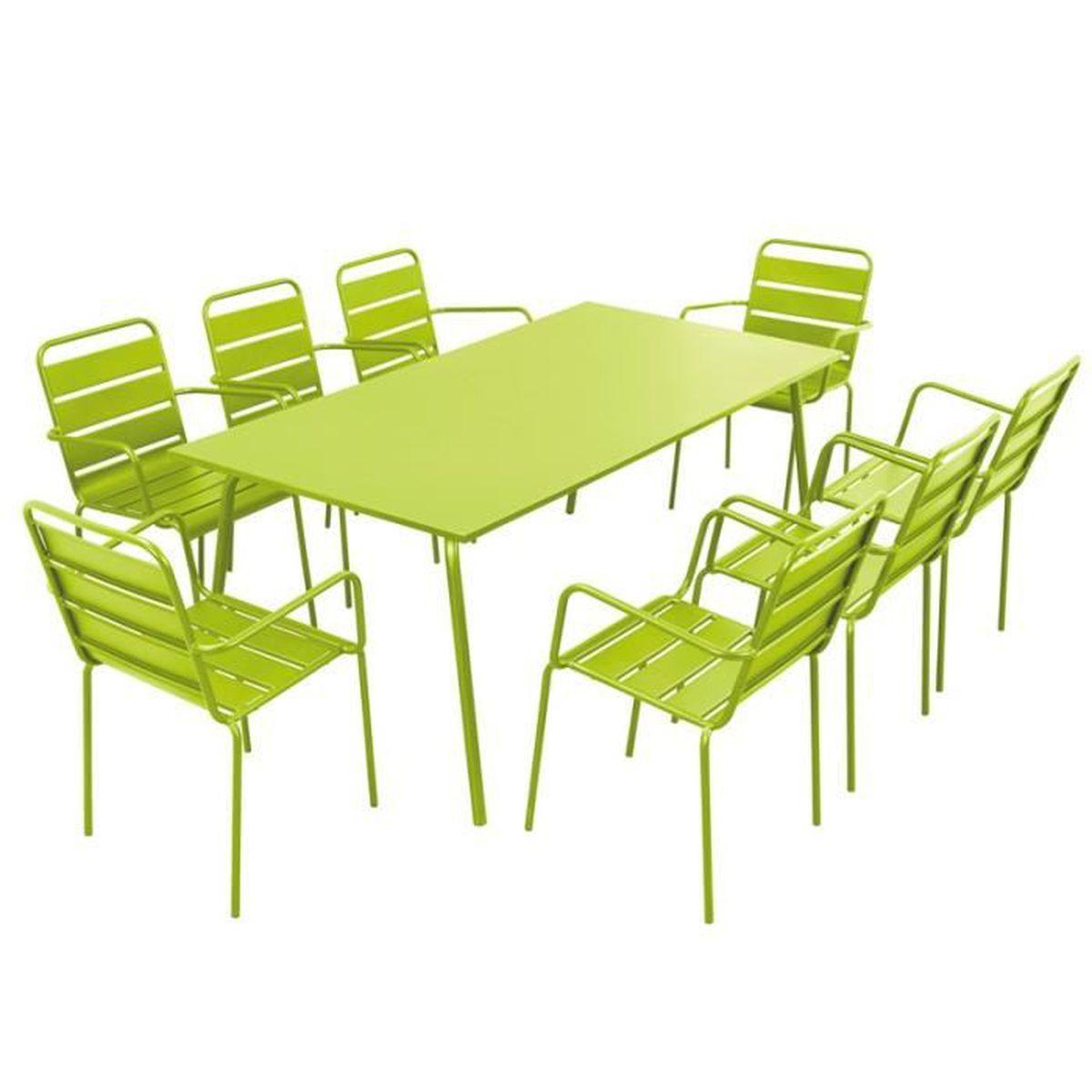Salon de jardin en acier 8 places ensemble en acier anti - Table et chaise salon ...