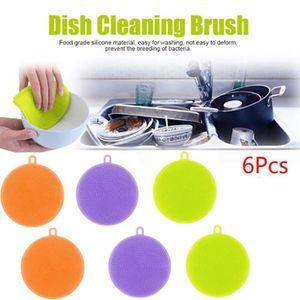 ÉPONGE VAISSELLE 6Pcs Lave-vaisselle en silicone nettoyant éponge n
