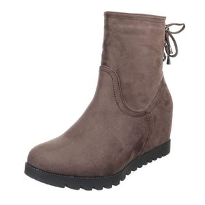 BOTTE femme botte chaussure semelle à talon compensé Wed