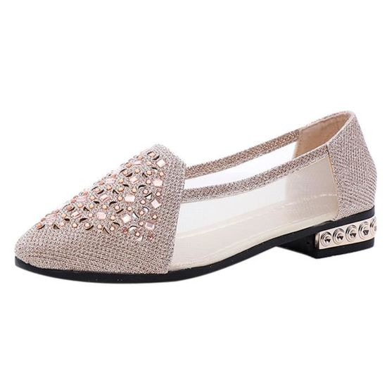 Femmes Flat Shoes Ballet With Low Heel Metal Pointed Toe Flats Hollow Out Shoes Or  Or - Achat / Vente slip-on