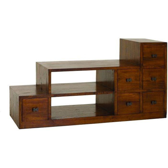 louna meuble tv ethnique bois vernis l105cm achat vente meuble tv meuble tv en acajou. Black Bedroom Furniture Sets. Home Design Ideas