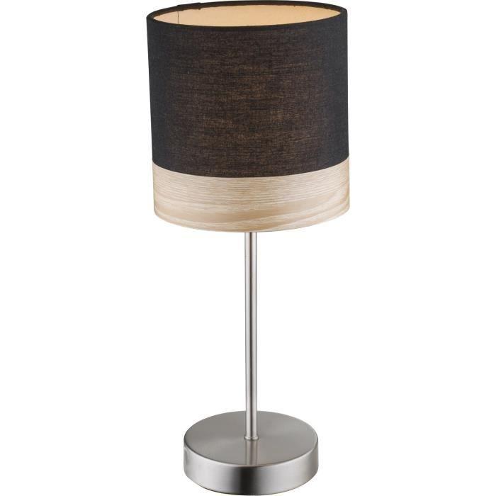 GLOBO LIGHTING Lampe à poser mat bois marron - Tissu noir Interrupteur - Diamètre 15 cm - Hauteur 35ccm - 40W - 230V