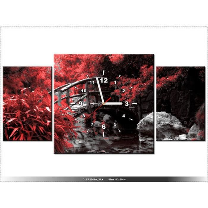 80x40cm - JARDIN JAPONAIS - HORLOGE MURALE TABLEAU - DECO MODERNE ...
