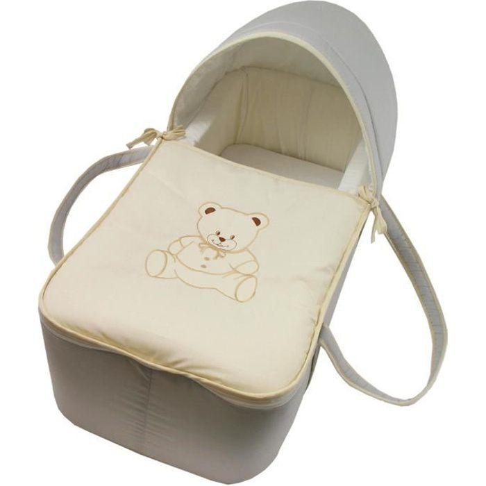1d44e6516476e Couffin pour bébé gris et beige - Motif Nounours