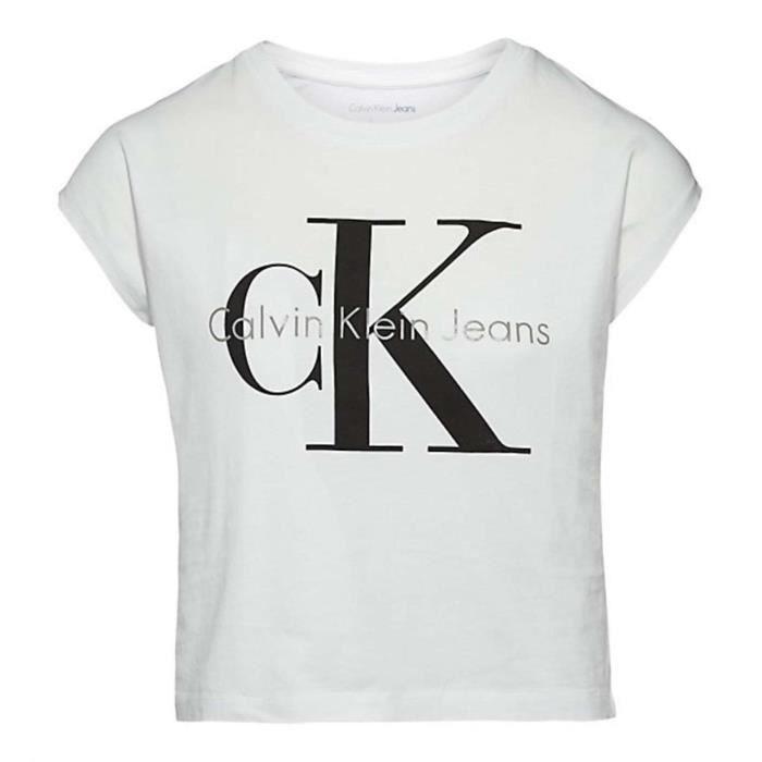 Calvin klein t shirt femme bright white achat vente t - Tee shirt manche longue calvin klein ...