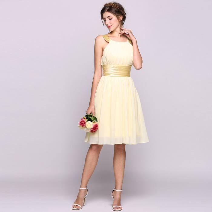 robe demoiselle d'honneur a-ligne Femme plissée mousseline de soie longueur genou avec Charmeuse Sash