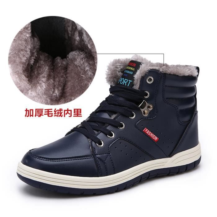 Botte basse Botte en cuir Chaussures étanches Chaussures Homme Chaussures avec coton Chaussures pour l'hiver Botte original en