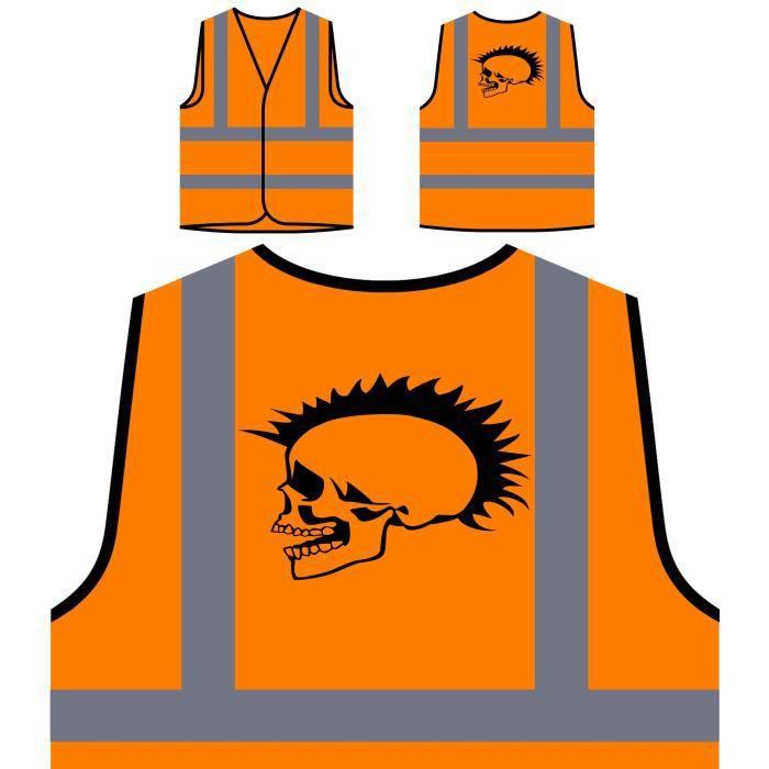 De À Nouveau Veste Orange Punk Head Funny Personnalisée Novelty Prote Visibilité Haute Halloween Skeleton happy Protection 6IBqqxrUwd