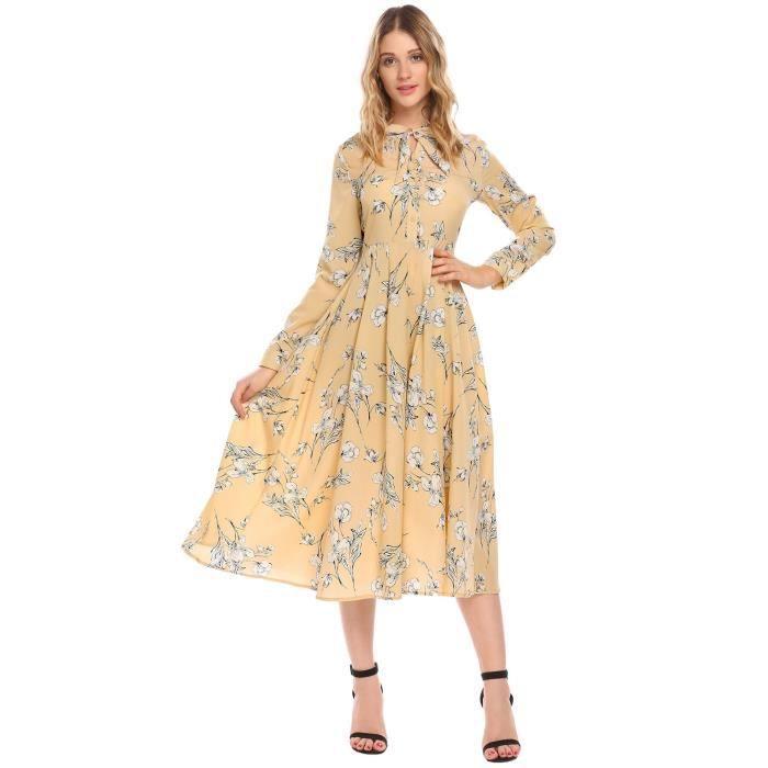 716e1852c84 Robe Petites Fleurs Longue Femmes Vintage À Manches Longues Boutonnée Avec  Ceinture
