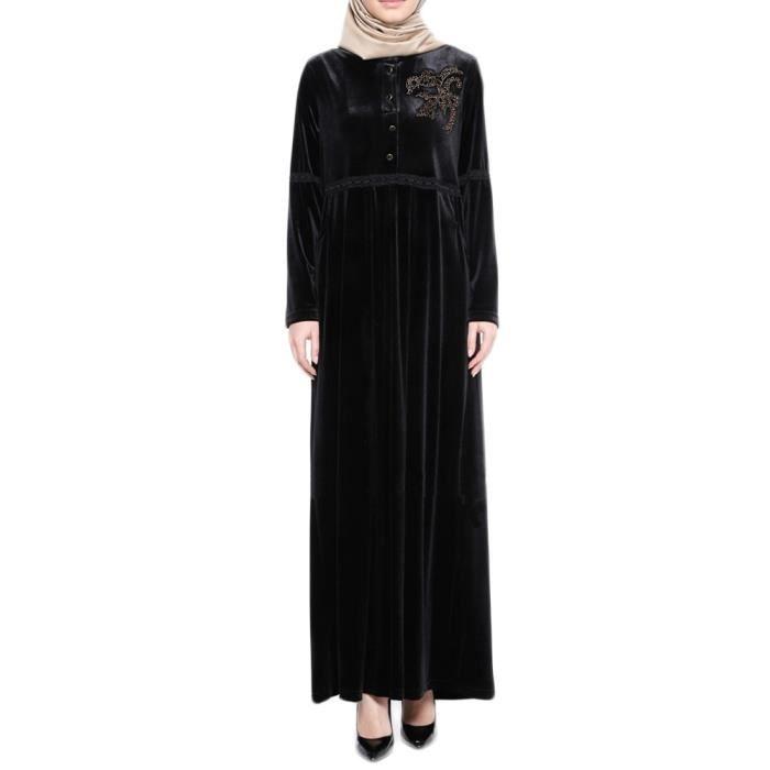 0d78463f9b9 Les femmes musulmanes forage velours chaud islamique Robe Taille plus  Moyen-Orient Robe longue Noir