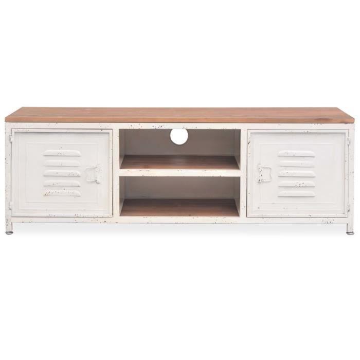 meuble tv mtal style industriel 120 x 30 x 40 cm