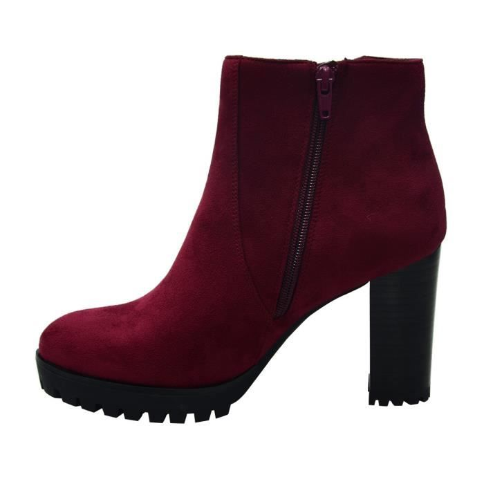 Stacked Chunky Heel Ankle Boots With Platform Round Toe Comfortable Winter Shoes XYQC8 Taille-40