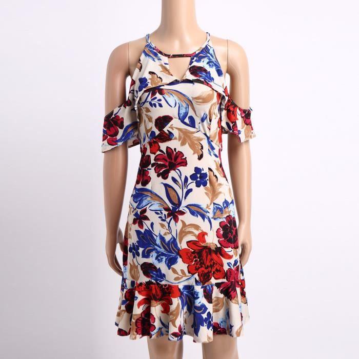 longueur lâche robe Blanc Napoulen®Mode épaule soirée genou dames hors imprimé femmes XXP71213298WH de wZqOSXFa