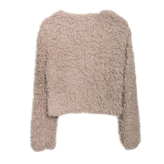Chaud Veste Lapel Laine D'hiver vêtement Artificielle En Manteau Mesdames Khiki Femmes 5wYBxqPgn