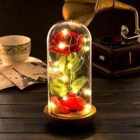 """Fleurs stabilisées La Rose Eternelle et lumière LED """"Belle et la bête"""