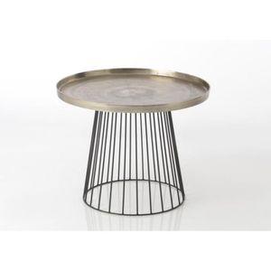 TABLE BASSE Petite table basse ronde diamètre 50 cm métal noir 141d855ffd3c