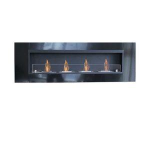 CHEMINÉE Cheminée Bio ethanol 162 cm 4 Brûleurs avec Glace