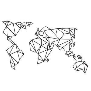OBJET DÉCORATION MURALE Décoration Metallique 3D Monde,  Couleur: Noir