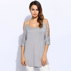 PULL Épaule froide 3/4 Sleeve Spaghetti sangle solide p