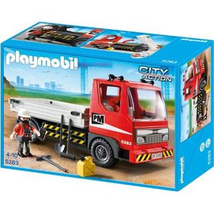FIGURINE - PERSONNAGE PLAYMOBIL 5283 Camion benne avec ouvirer