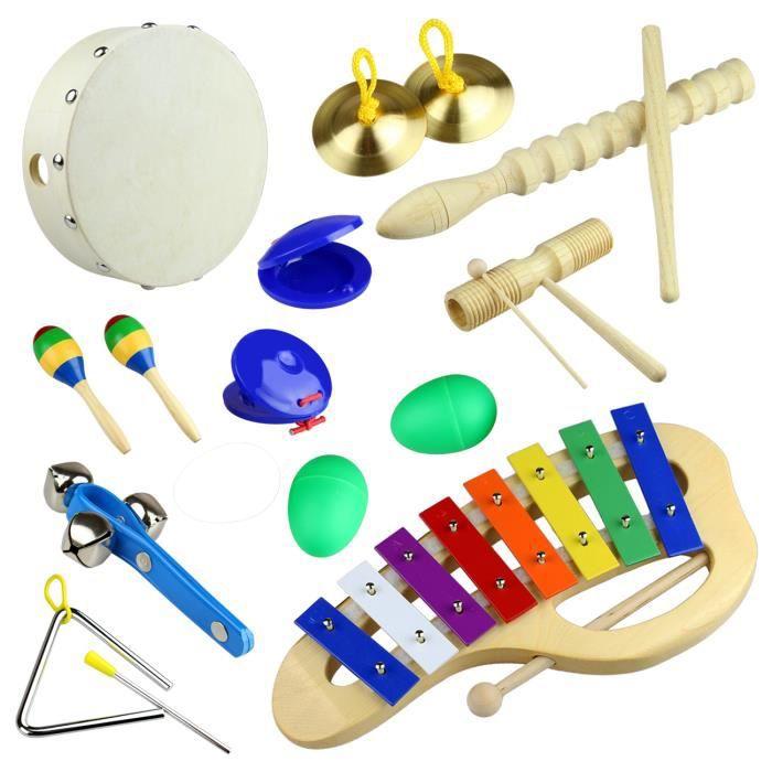 Tera 10 en 1 kit d 39 instruments de musique en bois percussion p dagogique le meilleur cadeau - Photo d instrument de musique ...