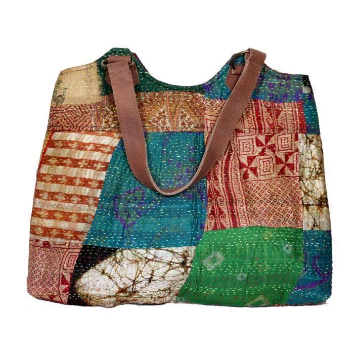 Femmes Soie Kantha travail poignée en cuir à la main fourre-tout, sacs à bandoulière Top Handle A7RBW