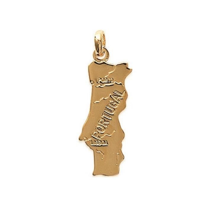 Pendentif Plaque Or Medaille Pays Portugal 24x10mm