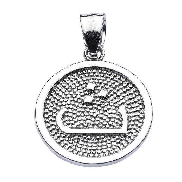 Collier Pendentif 10 ct Or Blanc Arabique lettre thaa t initiale Charm(Vient avec une chaîne de 45 cm) Allah islamique